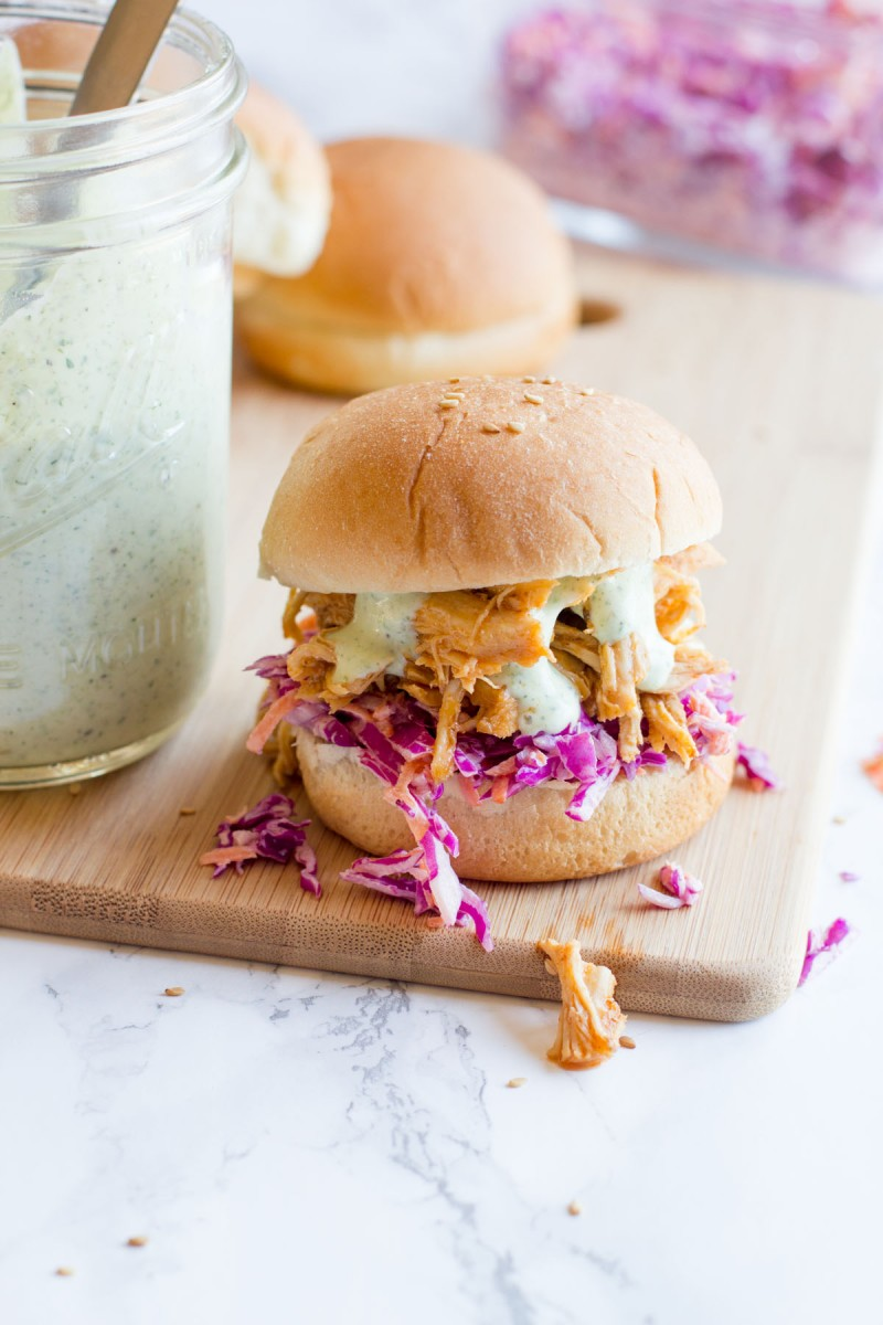 Slow Cooker Sriracha Chicken Sandwiches