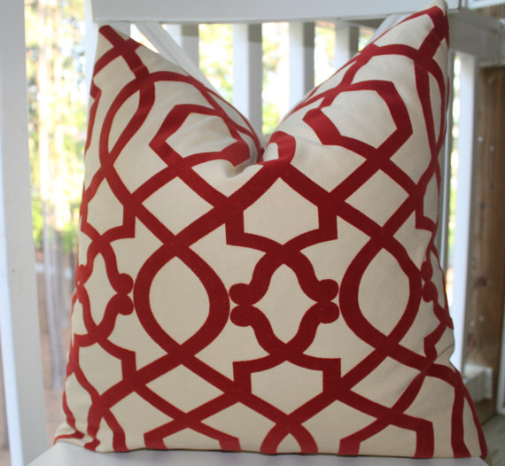red geometric trellis pillow, Motif pillow giveaway