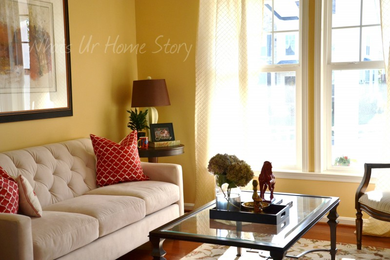 Whats Ur Home Story: Living room with red accents, stenciled throw pillow