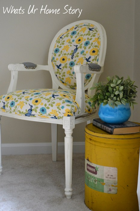 Whats Ur Home Story:  Chalk paint chair makeover, lard can side table, yellow accents