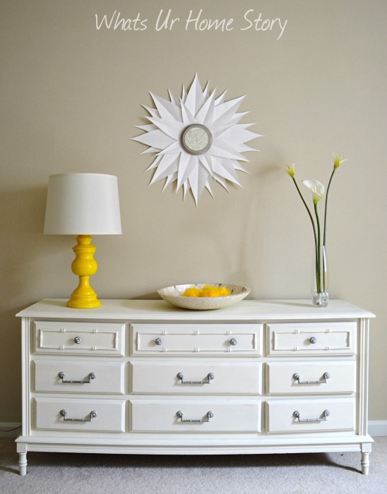 Whats Ur Home Story: Chalk paint dresser, lamp make over, diy sunburst mirror