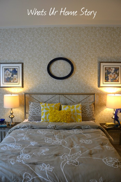 Whats Ur Home Story: Yellow, blue, and beige bedroom, neutral bedroom, transitional bedroom