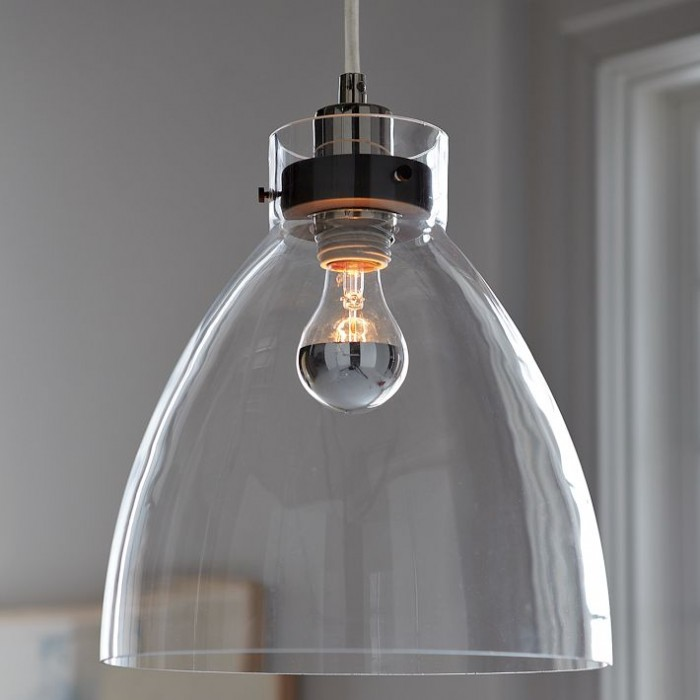 West Elm Glass industrial pendant